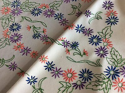 Lovely Large Vintage Hand Embroidered Tablecloth ~ Pretty Florals