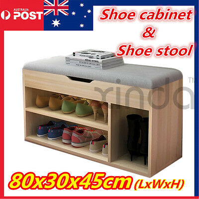 New Wooden Shoe Cabinet Rack Chest Organizer Bench leather/fabric Top  OZ