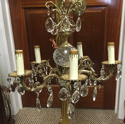 Beautiful Old 5 Arm Brass Chandelier with Prisms