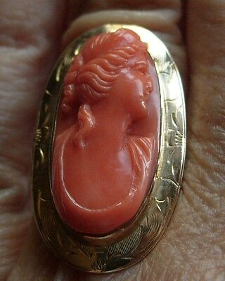 Antique Coral Cameo Long Etched Gold Ring 1 1/8ths 10 KT size 5