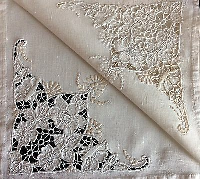 """Beautiful Antique Linen Table Cover ~ Hand Embroidered /cutwork ~ 33"""" X 32"""""""