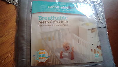 Breathable Baby Mesh Crib Liner - Gray - One Size - Original Packaging - NEW