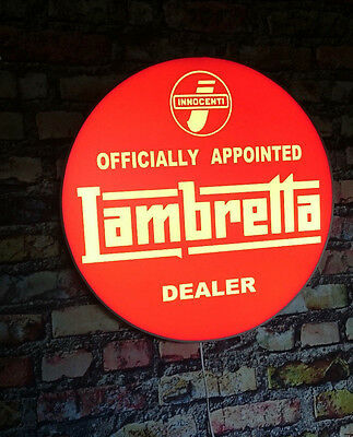 LAMBRETTA Officially Appointed   illuminated sign,,,mancave,workshop,shed,house