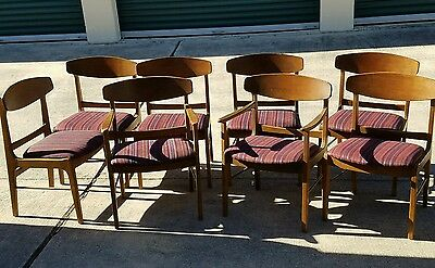 Set Of 8 Stanley Mid Century Modern Danish  Curved Back Walnut Dining Chairs