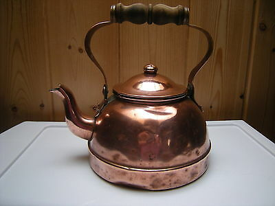 Vintage Tagus  Portugal Copper Tea Kettle Wooden Handle