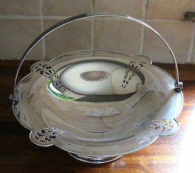 Vintage silver plate swing handle fruit bowl by Cameron of Kilmarnock