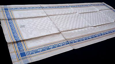 old unused linen Towel / Runner with floral pattern with blue / yellow border