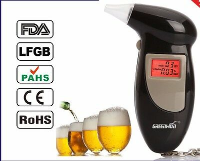 Portable Keychain LCD Digital Alcohol Tester Detector with 4 Breath Inhalers UK