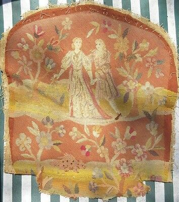 Antique Petit Point Needlepoint Chair Back Cover Man,Lady,Floral Aubusson