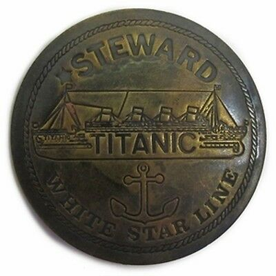 Reproduction White Star Lines Titanic Steward Antiqued Brass Badge Pin