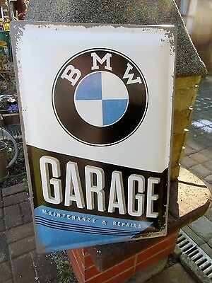 BMW GARAGE Embossed EXTRA LARGE Wall Sign Motorcycle & Car - Made in Germany