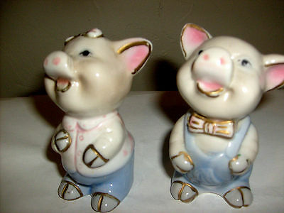 Vintage Pigs Pink Blue Farm Animal Two Figurines Nice and Cute 4 tall