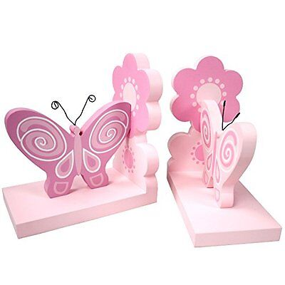 Hoddmimis Wooden Bookends Decorative Book Ends Kids Gift FBE06 Butterfly