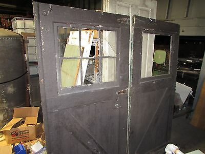 "VINTAGE CARRIAGE DOORS PAINTED Black set 42"" 1/4"" x 86"""