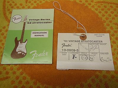 1962 RI Fender Stratocaster Instruction Manual & Hang Tag 62 Vintage Series 1989