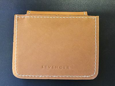 """NOS Levenger Leather Magnetic """"Morgan"""" Binder Clip, Small Tan, Discontinued"""