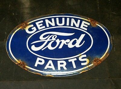 FORD Genuine Parts Porcelain Oval Dealership Sign Small Office Door Sign