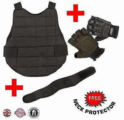 Paintball Airsoft Gloves Neck Chest Protector Body Armour Foam Padded Protection