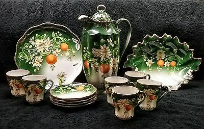 Wheelock China Austria hand painted chocolate serving set antique artist signed