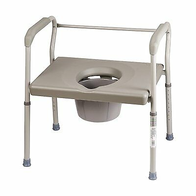 Sturdy Portable Heavy Duty Steel Commode Platform Seat Safety Bedside Chair