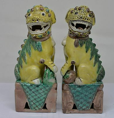 Antique Chinese Famillie Verte Porcelain Foo Dogs ~ 6.25 Inches Tall ~