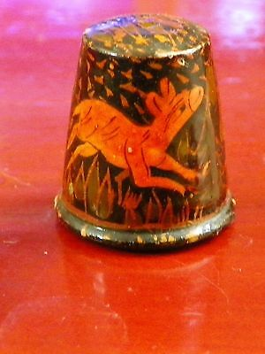 ~ Vintage Dear Wood Thimble ~ India Collector Thimbles ~