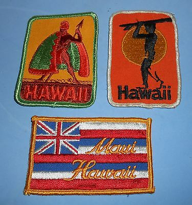 3 Different Vintage Hawaii Embroidered Souvenir Travel Patches Maui Surfer