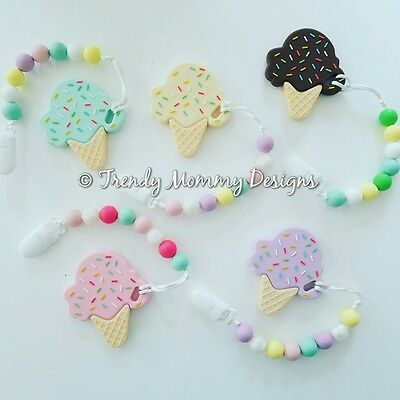Silicone ICE CREAM Teether Clips for Baby! Teething Baby, Baby Shower!