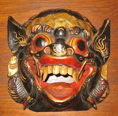 Vintage Wooden Hand Carved Chinese Demon Beast Vizard Wall Plaque