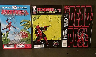 DEADPOOL - 3 Comics / the Circle Chase 1 / Mercs For Money 1/ Now VF+ 1st Prints