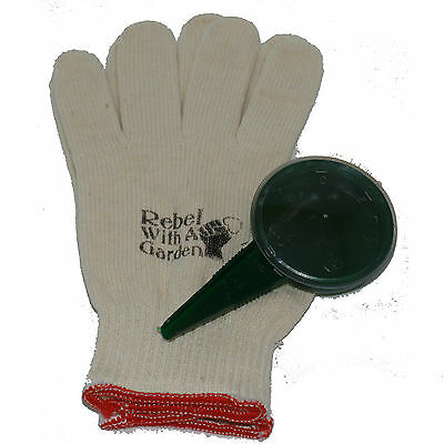 Rebel Seeder Jr Hand seeder and unisize cotton gloves by Rebel With A Garden