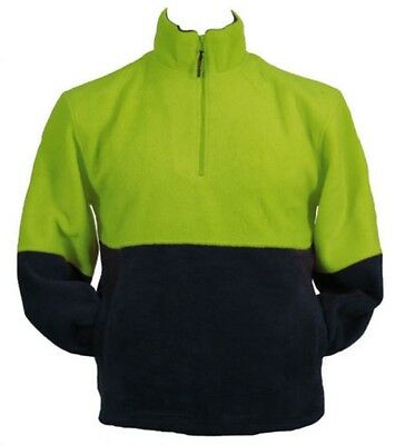 Hi Vis Safety Workwear Warm Fleece Jumper Jacket 1/4 Zip Tradie Fluoro Green