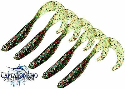 "Sea Hunter Curly Tail Shads Glitter 5"" Soft Plastics Fishing Lures Lure"