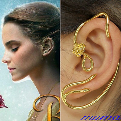 Beauty and The Beast Belle Rose Earrings Ear Cuff Copper Gold Plated Cosplay UK