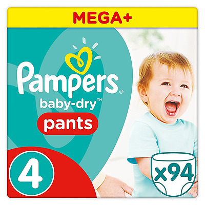 Pampers Baby-Dry Pants - Size 4, Pack of 94 - 12hrs of Dryness - Breathable NEW