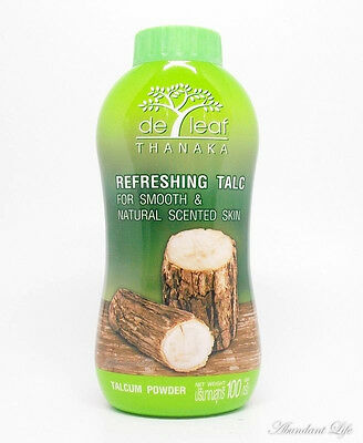 100G. De Leaf Thanaka Refreshing Talc Face And Body Powder Smooth And Natural