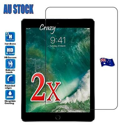 2X New Apple iPad 9.7 2018 2017 Air 1 2 Tempered Glass Screen Protector Guard