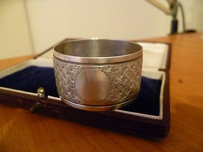 REDUCED!! ANTIQUE STERLING SILVER NAPKIN RING 1902 with BLANK CARTOUCHE