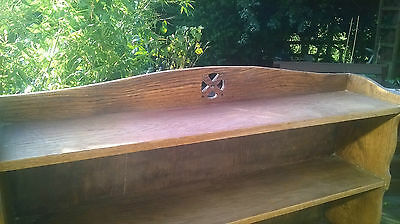 Large Arts and Crafts Solid Oak Bookshelf with Rose Carving