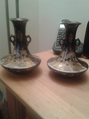 Pair Of Antique Meiji Japanese Handled Vases
