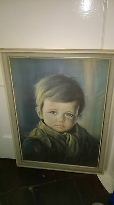 Large Vintage Framed Print on Board of The Crying Boy by Giovanni Bragolin