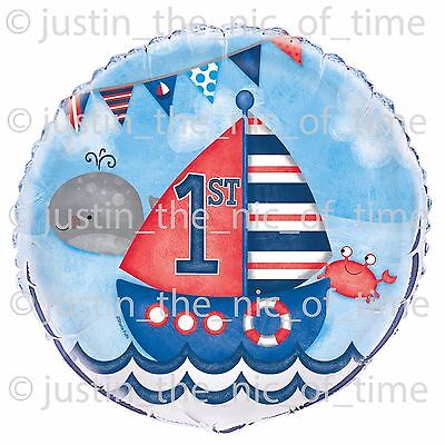 """1st First Birthday Boys Nautical Party Decorations Large 18"""" FOIL BALLOON"""