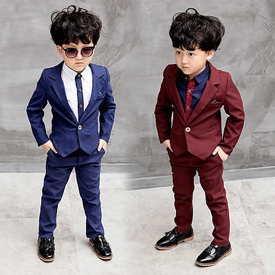 2pcs Kids Baby Boys Formal Suit For Wedding Jackets Concert Suit Coat+Pants Sets