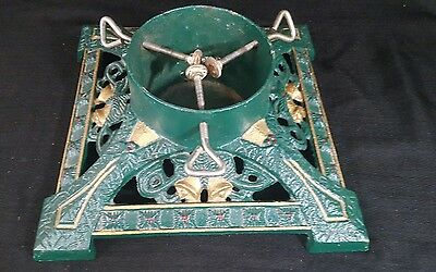Vintage Cast Iron Painted Christmas Tree Stand, Heavy  Red Green Bells Holly