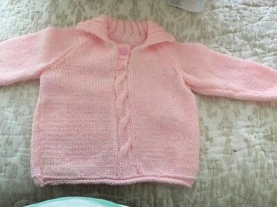 Hand Knitted Girls Jumper Age 3/6 Months