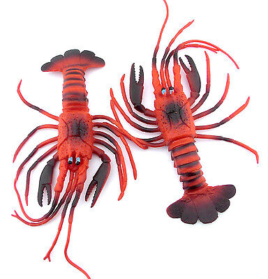 2pcs LOBSTER 11inch ~ Dekor ~ Fake ~ Imitation ~  Rubber ~ Toy ~ Display