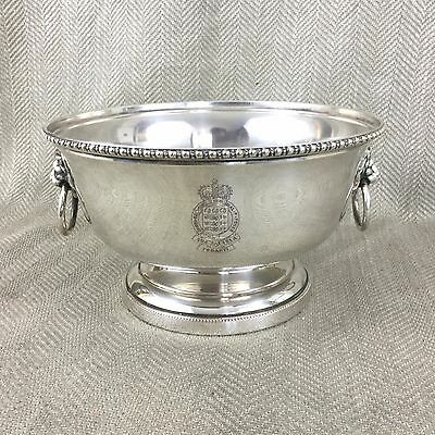Rare Silver Plated Punch Bowl Ice Bucket Royal Army Ordnance Corps Lion Handles