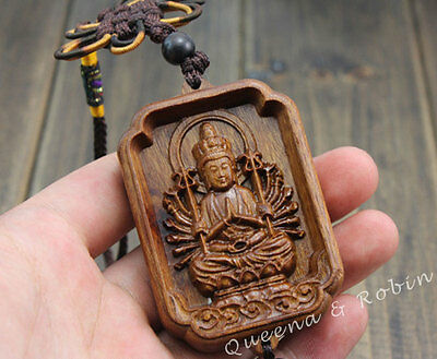 Wood Carving Chinese Knot Thousand Hand Kwan Yin Car Pendant Amulet Wooden Craft