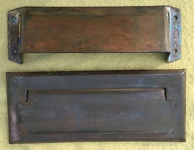 Vintage Heavy Brass Or Bronze Front Door Mail Slot & Interior Plate