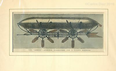 "Antique Hand Coloured Woodblock Etching c.1878. ""The Aerion"" 32 x 20cm Steampunk"